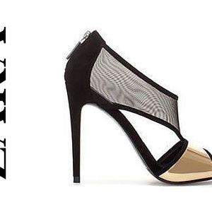ZARA Designer Black Mesh and Gold Metallic Party E